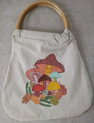 vtg 70s painted mushroom canvas purse wood handle handmade psych hippie