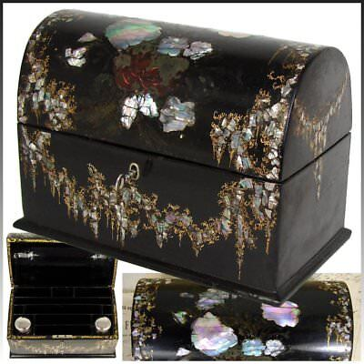 Antique Victorian Papier Mache Stationery or Writer's Box with Inkwells, Pearl