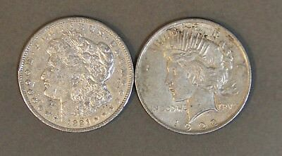 Two (2) Circ Morgan / Peace Silver Dollars: 1921 & 1922 90% Bullion
