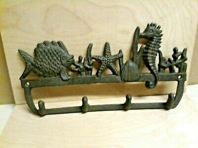 Cast Iron Nautical SEAHORSE, STARFISH & FISH Towel,Coat or Hat Hook Key Rack