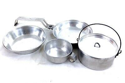 """Vintage Boy Scout Of America Aluminium """"Be prepared"""" Mess Kit #A30"""
