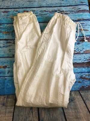 Sergio Tacchini Womens Pant Windbreaker SZ 8 White Vintage Solid Athletic A49