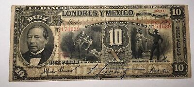 1902 - Banco De Londres Y Mexico 10 Pesos - HIGH GRADE/LOW RESERVE!