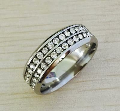 Double Row White CZ Eternity Band Ring in High Polish 316L Stainless Steel