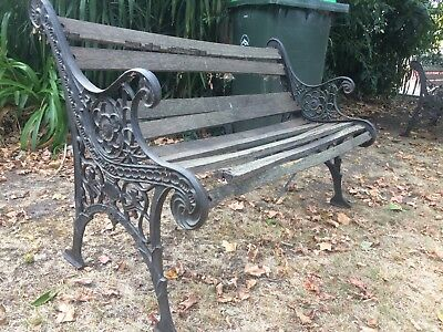 Vintage Iron Garden Bench Needing New Wood