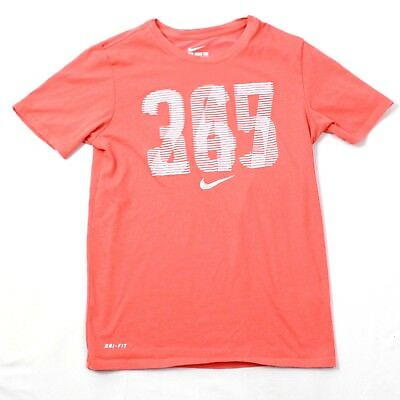 89fb23b0695d THE NIKE TEE 24 7 365 Dri-Fit Athletic Cut Orange Active T-shirt Adult S  Small -  18.88