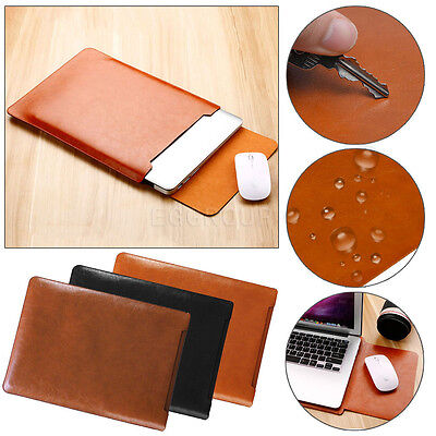 AU For Microsoft Surface MacBook Chromebook Laptop Leather Sleeve Pouch Bag Case