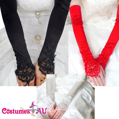 Ladies 20s Wedding Bridal Gloves White Red Black 1920s Pearl Gatsby Party Dance