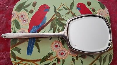 Antique vintage solid sterling silver hand mirror