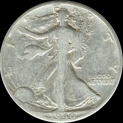 "A 1940 S Walking Liberty Half Dollar 90% SILVER US Mint ""Average Circulation"""