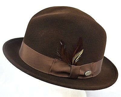 363277428 BAILEY OF HOLLYWOOD Litefelt Tino Mens Brown Fedora Hat 100% Wool XL Made  in USA