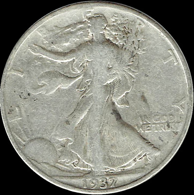 "A 1937 P Walking Liberty Half Dollar 90% SILVER US Mint ""Average Circulation"""