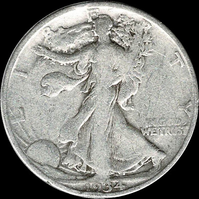 "A 1934 P Walking Liberty Half Dollar 90% SILVER US Mint ""Average Circulation"""