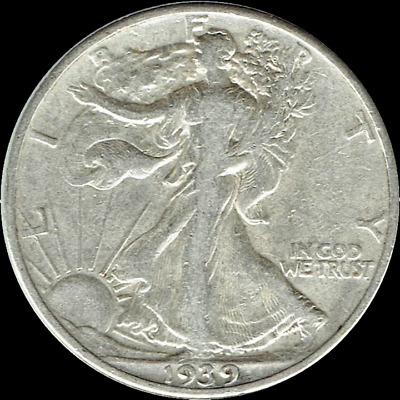 "A 1939 P Walking Liberty Half Dollar 90% SILVER US Mint ""Average Circulation"""