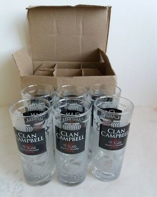 Clan Campbell  WHISKY 6 Verres tubes 22 cl NEUF No Ricard (1)
