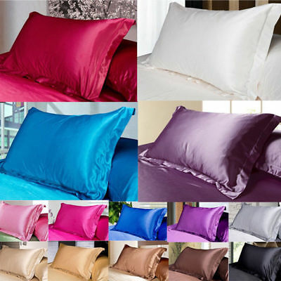 Silk Satin Cover Standard Queen Soft Comfort Solid Protector 50 X 70 Pillow Case