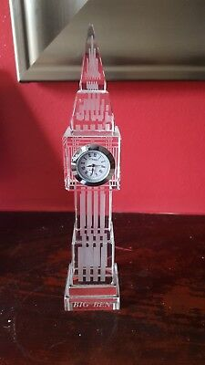 miniture glass/clear resin Big Ben replica clock working needs battery