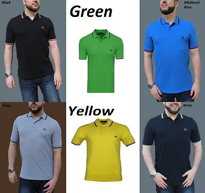 Neu Fred Perry Polo Shirt Twin Tipped Slim Fit S-XXL