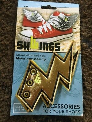 Gold Foil Wings SHWINGS Shoe Accessory Charm-Lace Onto Any Shoe Sneaker (Flash)