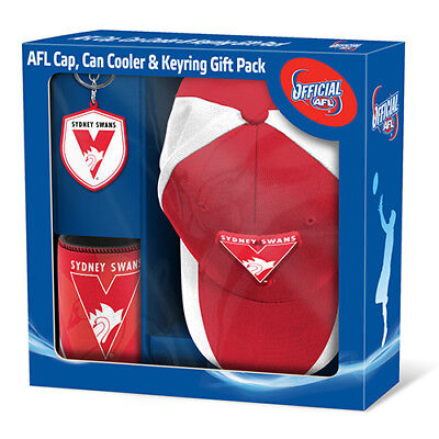 Sydney Swans AFL Supporter Gift Pack Cap Key Ring Can Coller BNIB Footy