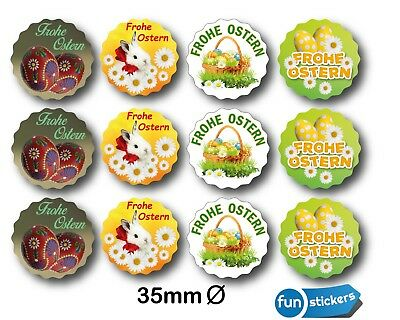 Oster-Aufkleber Set 12Stk. Sticker Frohe Ostern  Ø 35mm Easter  Set Mix 2