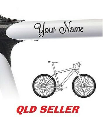 2 x Personalised Bike Frame DECALS For Bicycle Bike Cycle