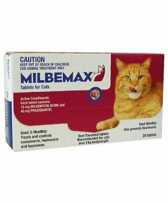 Milbemax All Wormer Beef-Flavoured Tablet for Large Cats under 2-8kg - 20 Pack