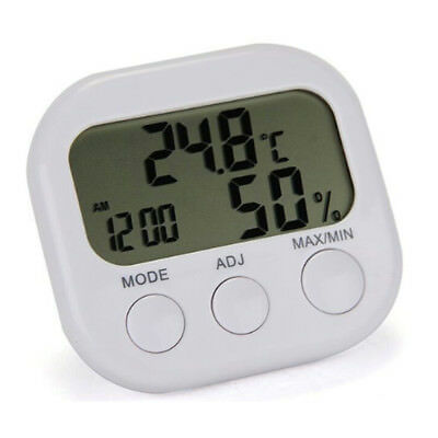 Digital LCD Indoor Thermometer Hygrometer Clock Temperature Humidity Meter Uk