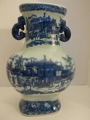 Victoria Ware Ironstone Flow Blue / White Vase W/handles And Old City St. Scene