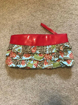 Bag Lady mudpie clutch wristlet red pattern excellent summer purse