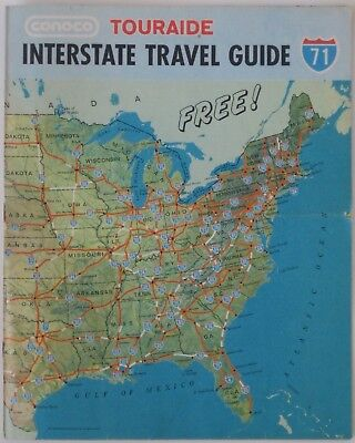 1971 CONOCO Road Map Atlas UNITED STATES Interstate Service Station Directory