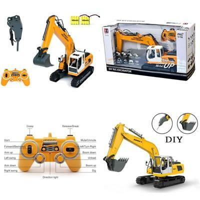 RC Excavator Tractor Toy Construction Vehicles 17 Channel Truck Metal Shovel