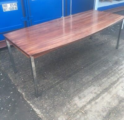 Large  MID-CENTURY ROSEWOOD Veneer & Polished CHROME Conference/ Dining Table