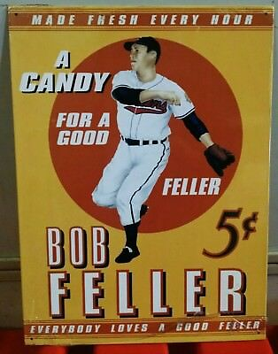 ONLY ONE Bob FELLER 5¢ Candy Baseball 25 yr old Vintage Metal Sign ©1993 Curtis