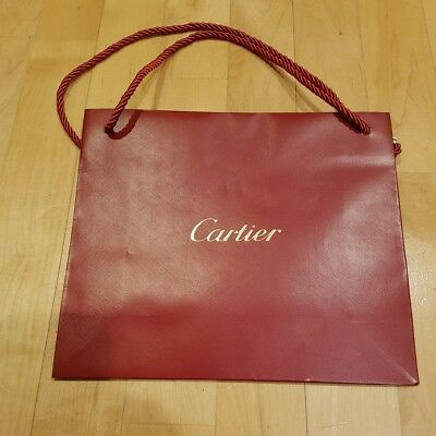 "Genuine Cartier Medium Shopping Bag- Cartier Red, 10 1/8"" x 8 7/8"" x 3 1/2"", New"
