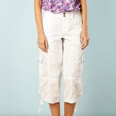 NEW MANTARAY  Size 10 12 14 16 18 White Cropped Cotton Cargo Pants Trousers