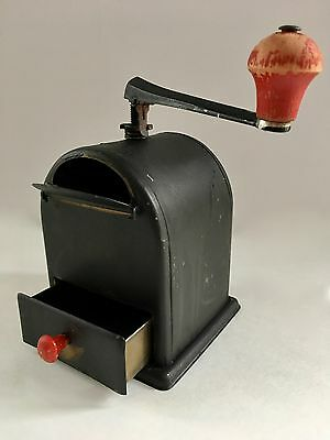 Authentic Vintage European German O. G. J. Metal Moccamuhle Coffee Mill/Grinder