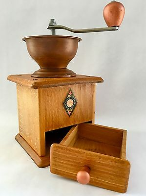 Vintage European German GARANTIED FORGED GRINDER Wood+Copper Hopper Coffee Mill