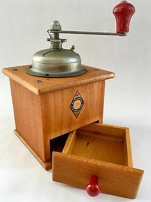 Vintage European German GARANTIE FUR JEDES STUCK Wood+Metal Coffee Mill/Grinder