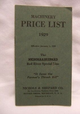 1929 Nichols & Shepard Co. Red River Threshers & Lauson Tractors Price List