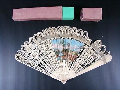 Antique Chinese Export Hand Painted Carved Bovine Bone Brise Hand Fan in Box