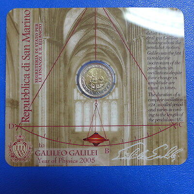 San Marino 2 Euro 2005 Galileo Galilei in orig. Folder