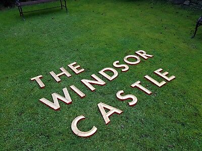 """Gold/Red letters THE WINDSOR CASTLE 9 7/8"""" capital resin pub shop sign wall art"""