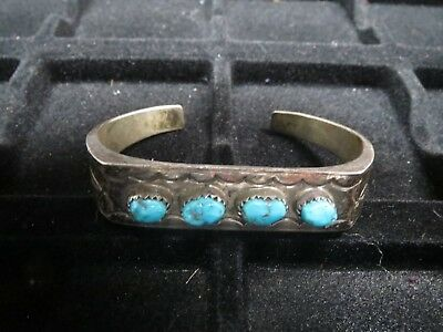 Small Cuff Bracelet Signed Sunrise Sterling Silver with 4 Turquoise Stones