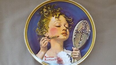 """Edwin M Knowles Collector Plate Norman Rockwell's """"Making Believe at the Mirror"""""""