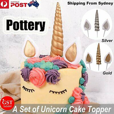 Gold Silver Unicorn Horns + Ears Cake Topper Birthday Cake Decoration Party