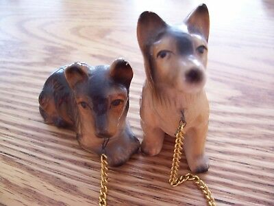 Lot of 2 German Shepherd Animal Figurines Good Condition Tied by Gold Chain