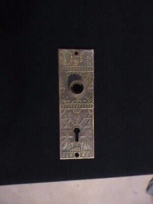Antique Brass Victorian Ornate Door Knob Key Cover Back Plate