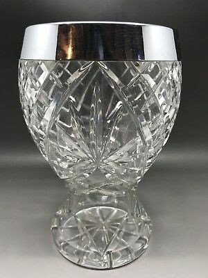 Pretty Cut Glass Vase With Silver Coloured Metal Rim - 16.5 Cm