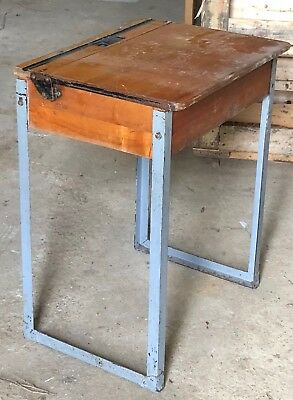 Traditional wooden school desk with lift up lid and metal legs